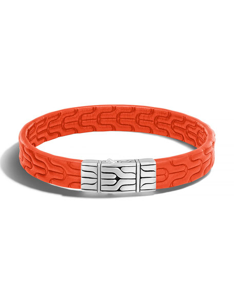 Classic Chain Men's Leather Bracelet, Silver/Orange