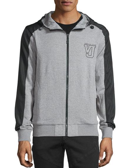 Hooded Zip-Front Jacket, Gray