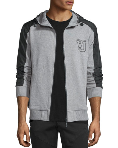 Hooded Zip-Front Jacket, Gray