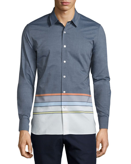 Opening Ceremony Button-Front Dress Shirt, Eclipse Blue/Multi