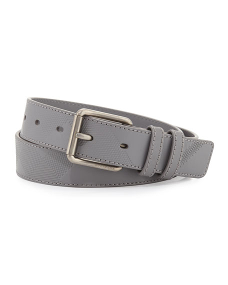 Burberry Mark Men's Embossed Check Leather Belt, Gray