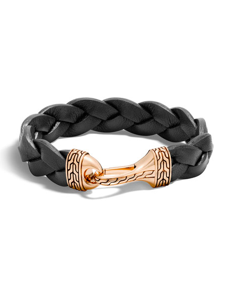 John Hardy Men's Classic Chain Leather Bronze-Hook Bracelet