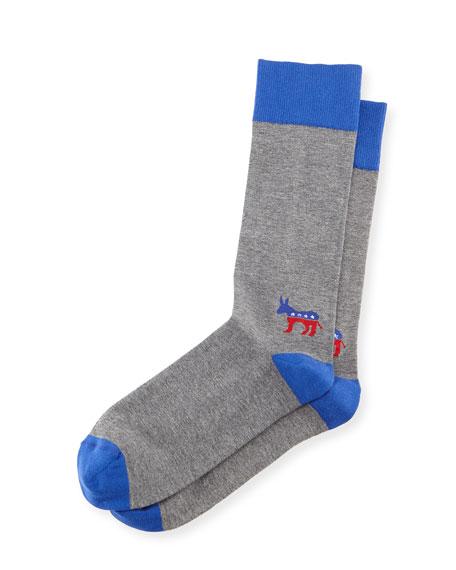 Jonathan Adler Blue-Donkey Election Socks, Gray/Blue