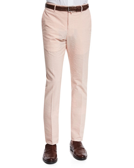 Incotex Benn Seersucker Cotton/Linen Straight-Leg Pants, Orange/White