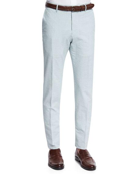 Incotex Benn Seersucker Cotton/Linen Straight-Leg Pants, Green/White