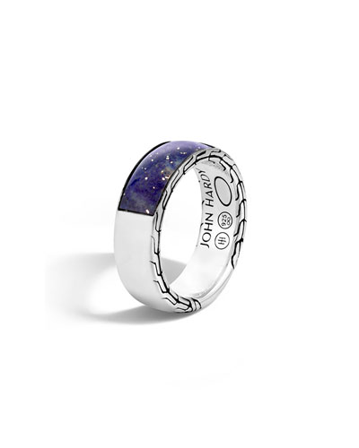 Men's Classic Chain Silver Band Ring with Lapis, Size 10