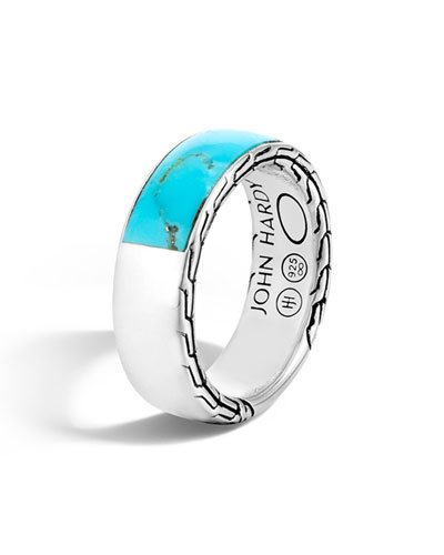 Men's Classic Chain Silver Band Ring with Turquoise, Size 10