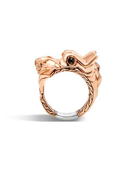 Men's Legends Naga Bronze Dragon Head Ring, Size 10