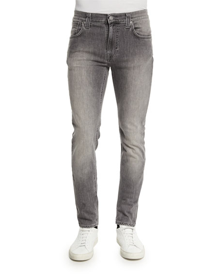 Nudie Thin Finn Dark Pavement Skinny-Leg Jeans, Light