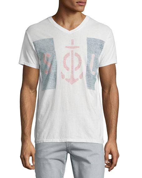Sol Angeles Blockade Graphic V-Neck T-Shirt, White