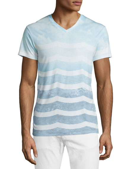 Sol Angeles Marine Layer Ombre-Wave V-Neck T-Shirt, Light Blue