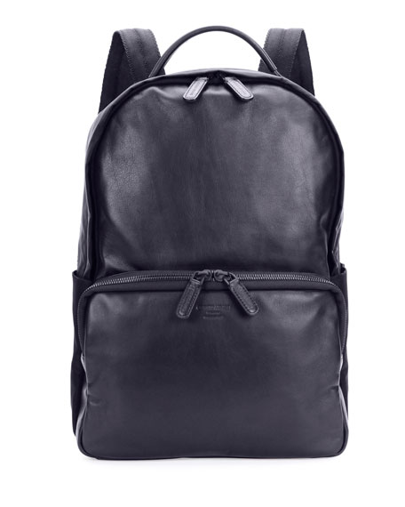 Giorgio Armani Solid Leather Backpack, Blue
