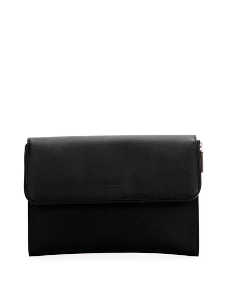 Giorgio Armani Leather Portfolio Case, Black