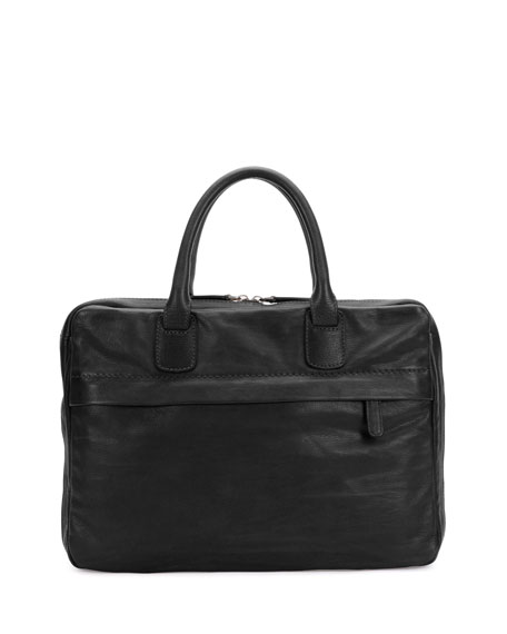 Giorgio Armani Soft Leather Briefcase, Black