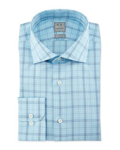 Large Windowpane-Check Woven Dress Shirt, Aqua/Navy