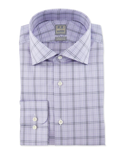 Large Windowpane-Check Woven Dress Shirt, Lavender/Navy