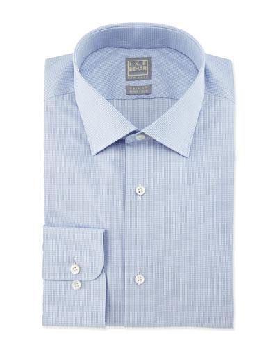 Micro-Check Woven Dress Shirt, Light Blue