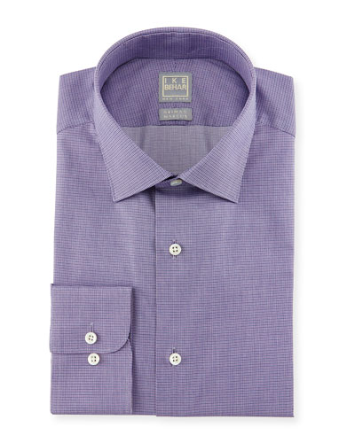 Micro-Houndstooth Woven Dress Shirt, Purple