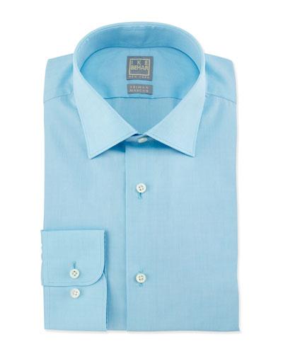 Solid Chambray Woven Dress Shirt, Aqua