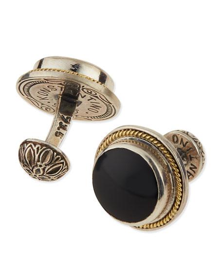 Konstantino Round Onyx & Gold Cuff Links