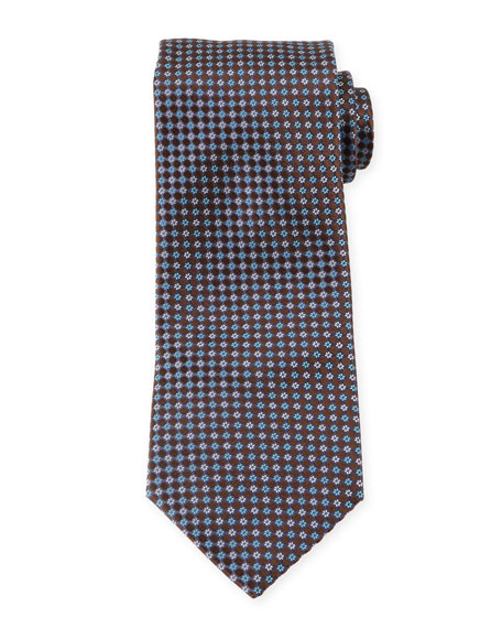 Ermenegildo Zegna Flower-Print Neat Silk Tie, Brown
