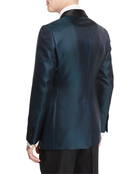 Buckley-Base Mesh-Print Tuxedo Jacket, Green/Black