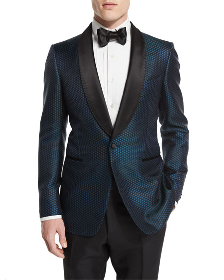TOM FORD Buckley-Base Mesh-Print Tuxedo Jacket, Pleated-Front