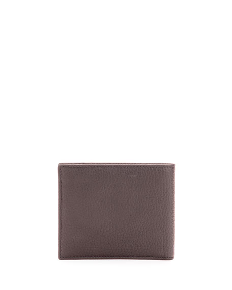 Pebbled Leather Bi-Fold Wallet, Brown