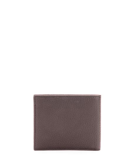Pebbled Leather Bi-Fold Wallet, Brown