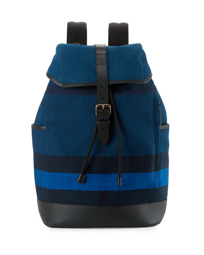 Drifton House Men's Check Canvas Backpack, Blue
