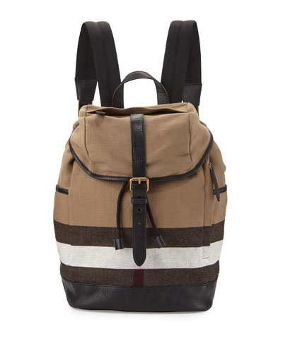 Drifton House Men's Check Canvas Backpack, Camel/Brown