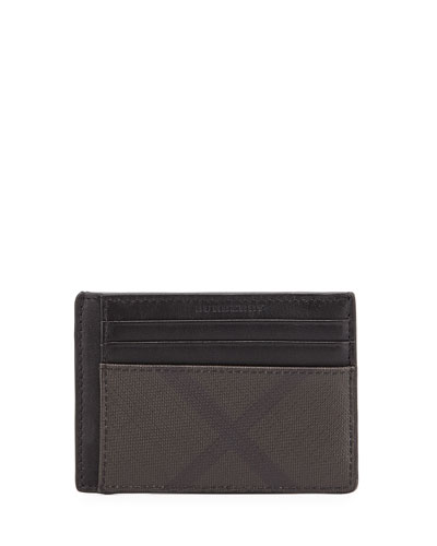 London Check Money Clip Card Case, Chocolate/Black
