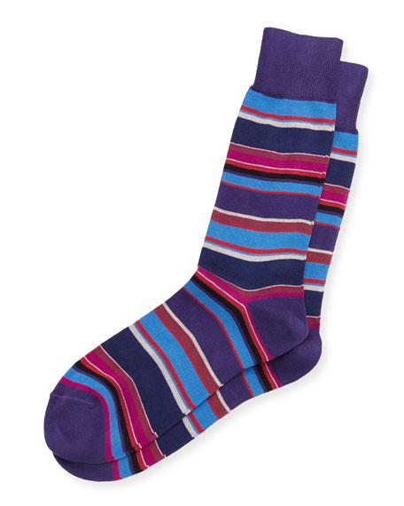 Paul Smith Albermarle Striped Socks, Black