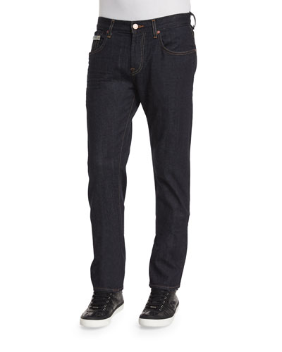 Straight-Leg Stretch Denim Jeans, Dark Indigo