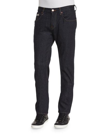 7 For All Mankind Straight-Leg Stretch Denim Jeans, Dark Indigo