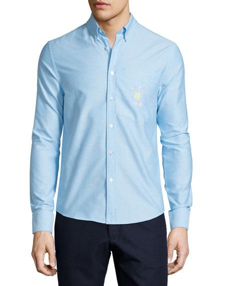 Opening Ceremony Kole Button-Front Dress Shirt, Pelagic Blue