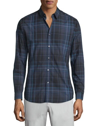 Zack PS Aviston Check Sport Shirt, Medium Gray