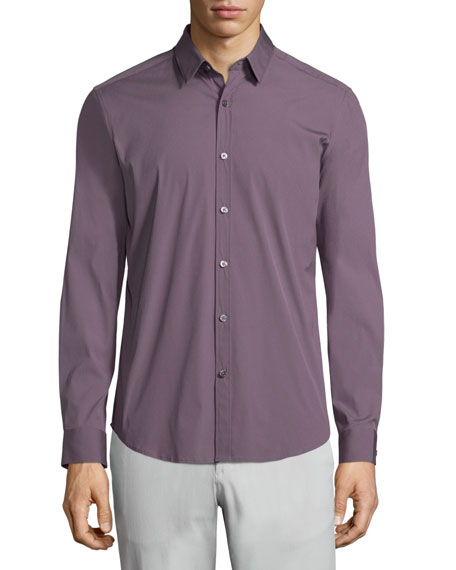 Theory Zack PS Solid Long-Sleeve Sport Shirt, Wine