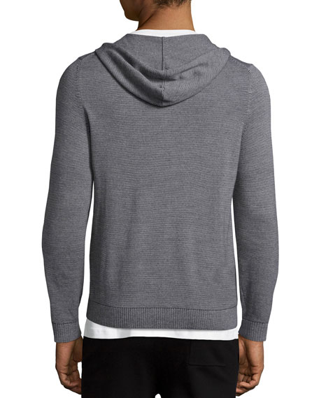 Theory Bisley Castelle Thin-Strip Zip-Up Hoodie, Gray