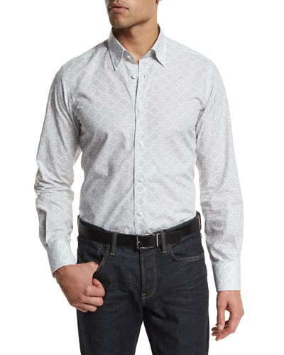 Medallion-Print Long-Sleeve Sport Shirt, Dark Gray