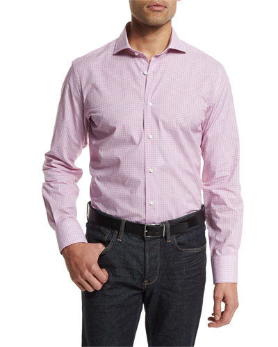 Geometric Weave-Print Long-Sleeve Sport Shirt, Rose