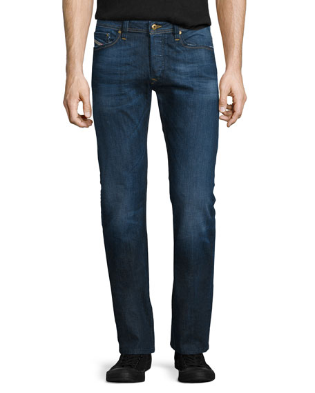 Diesel Viker Relaxed Straight-Leg Denim Jeans, Blue