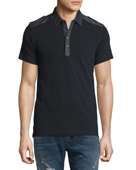 Diesel T-Angie Denim-Trim Short-Sleeve Polo Shirt, Black
