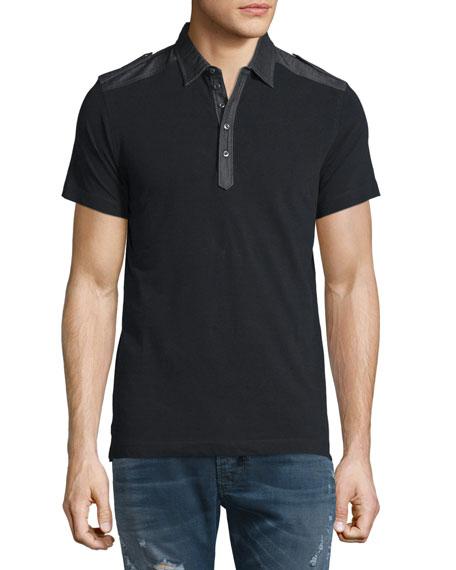 Diesel T-Angie Denim-Trim Short-Sleeve Polo Shirt, Black