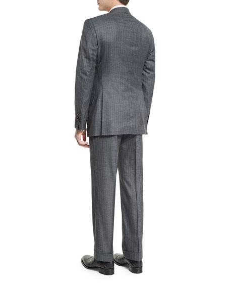Windsor Base Micro-Pinstripe Suit, Gray