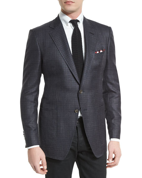 O'Connor Tattersall Silk-Blend Sport Jacket, Navy