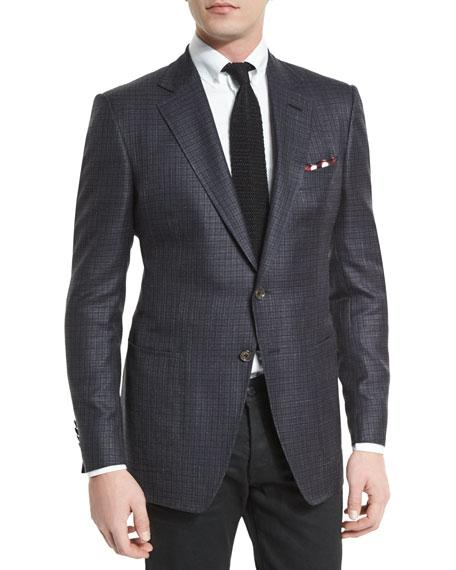 O'Connor Tattersall Silk-Blend Sport Jacket, Navy