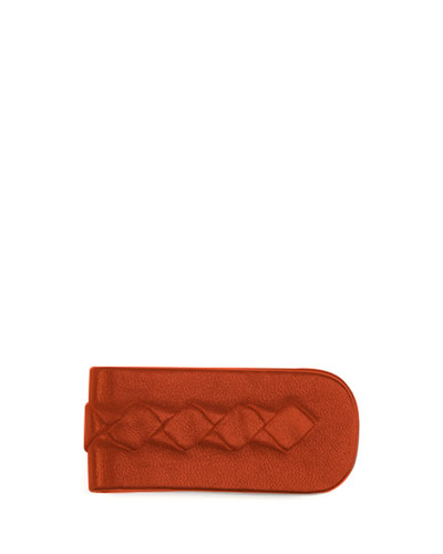 Woven Leather Money Clip, Dark Red