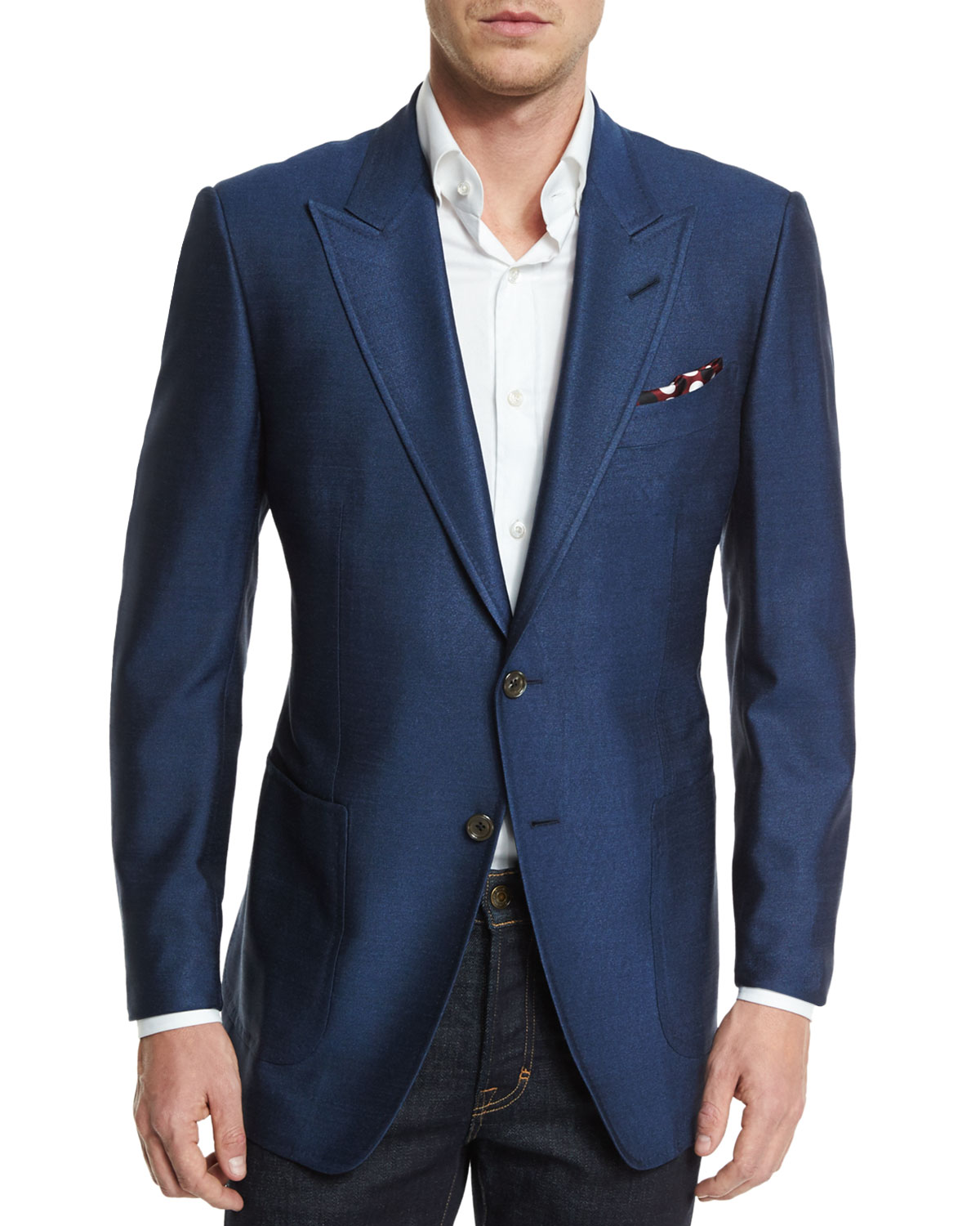 Tom Ford O Connor Base Silk Sport Jacket Blue Neiman Marcus