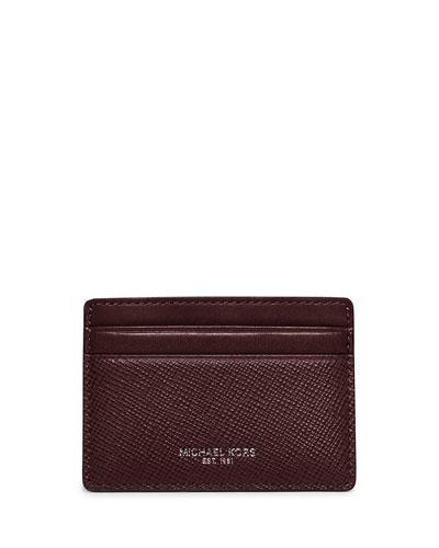 Harrison Cross-Grain Leather Card Case, Oxblood